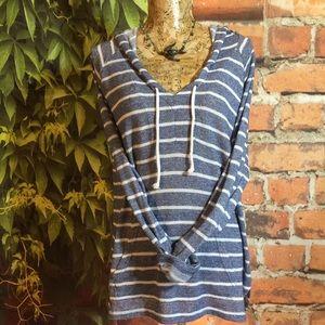Beach Hoodie Striped Kangaroo Pocket Ties XL